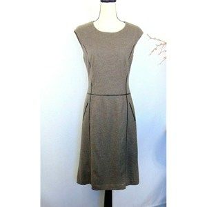 Lafayette 148  Sheath Dress 100%  Wool Brown Midi